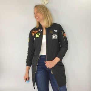 Papaya Hello Patch 90s longline Bomber jacket